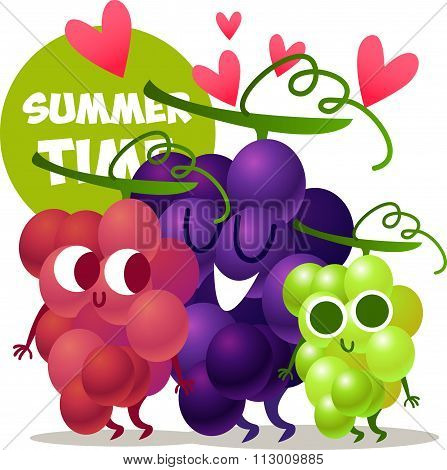 A set of cute grapes. Illustration with funny characters. Love and hearts. Funny food. time fresh. S
