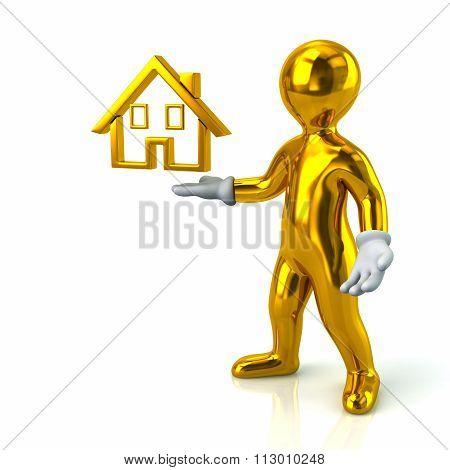Cartoon Character Golden Man Presenting House