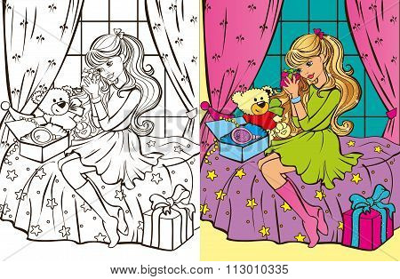 Colouring Book Of Girl Unpacks Gifts