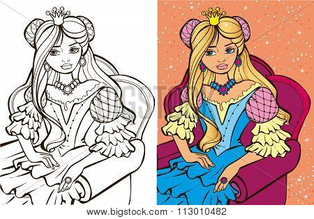 Colouring Book Of Blonde Princess