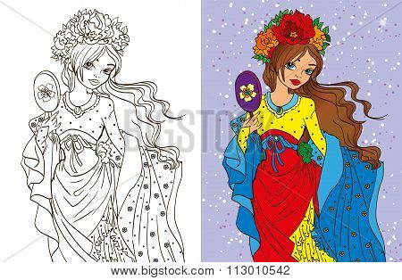 Colouring Book Of Girl With Mirror