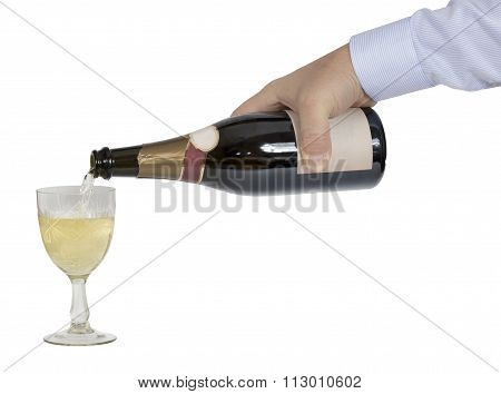 Man's Hand (waiter) Is Poured Champagne In Crystal Glass