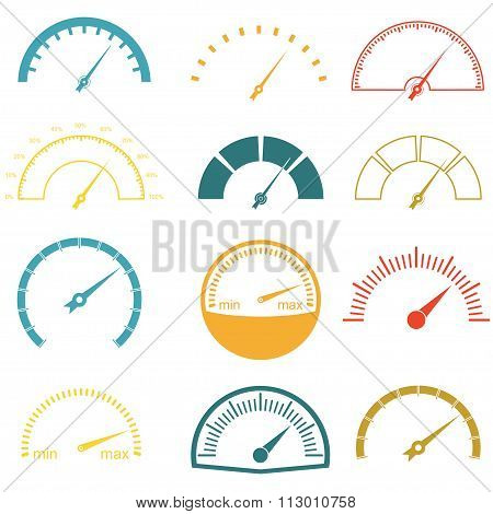 Speedometer or gauge icons set. Infographic and car instrument design elements. Vector illustration.