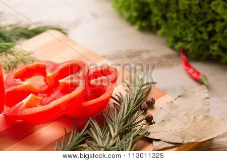 Red Bell Pepper  On Cutting Board