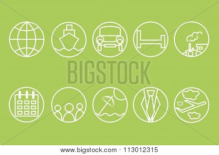 Travel line icons. White outline of a train, ship, cars, air, trains, umbrellas on a light green bac