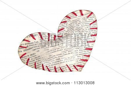 The Symbolical Heart Sewed From A Newspaper Slice By Red Threads
