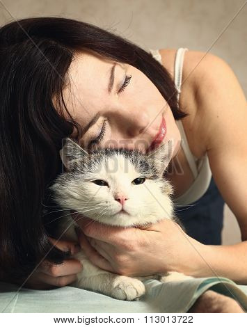 Woman Hug Siberian Cat For Relaxation