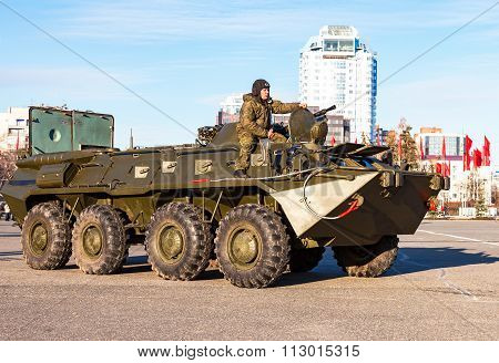 Army Armored Personnel Carriers On The Central Square In Samara, Russia