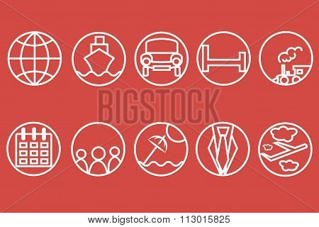 Travel line icons. White outline of a train, ship, cars, air, trains, umbrellas on a red background