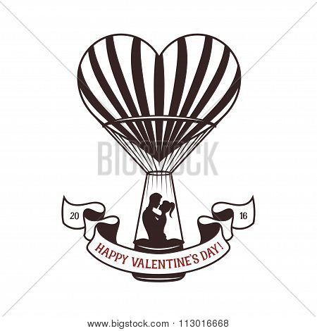 Valentine day greeting card with heart shaped air balloon.