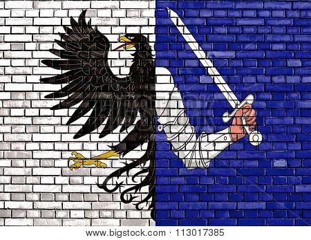 Flag Of Connacht Painted On Brick Wall