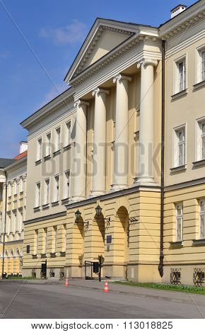 Warsaw National University main entrance to the building. Public high school.