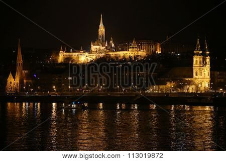 Panoramic View Of Budapest By Night With Niight Ship On The Danube