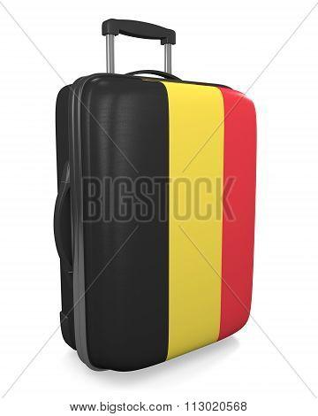 Belgium vacation destination concept of a flag painted travel suitcase