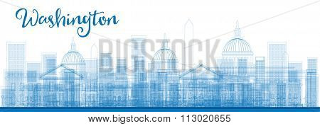 Outline Washington DC City Skyscrapers in blue color. Business and tourism concept with skyscrapers. Image for presentation, banner, placard or web site