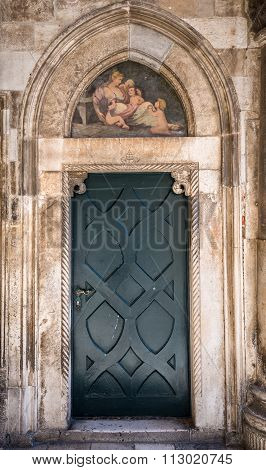 Dubrovnik, Croatia - August 26, 2015: Details of Rector's Palace on the Old Town of Dubrovnik