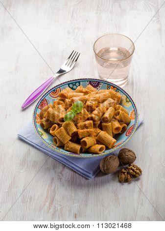 pasta with capsicum sauce and nuts pesto