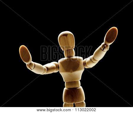 Human wood manikin gesturing