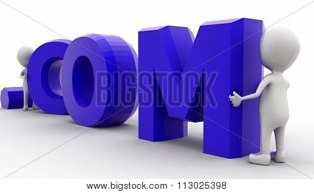 3D Man Arranging .com Text Concept