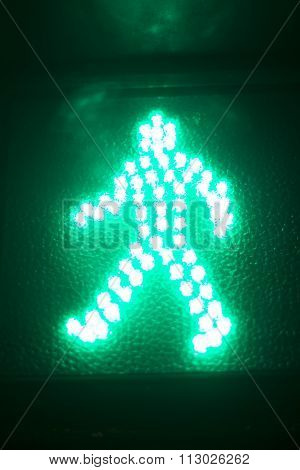 Green Man Go Pedestrian Traffic Light Sign
