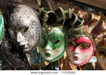 Venetian Masks Grey, Green And Pink Colors, Decorated By Gold And Silver
