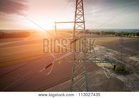 Aerial View On Powerlines