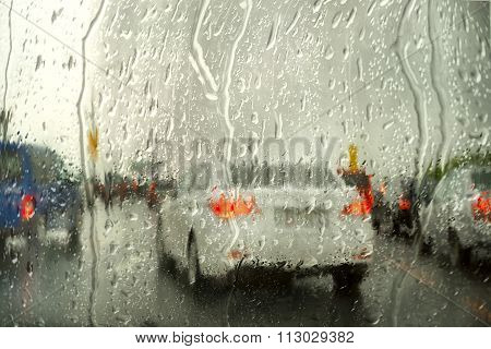 Rain On The City Street Through A Car Windshield