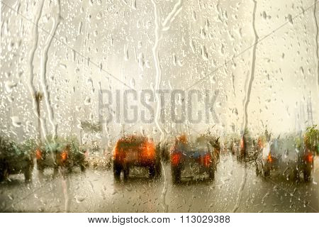 Street In The Rain Through The Window Of The Car, On A Cold, Wet Day, Shot Through A Windscreen, Foc