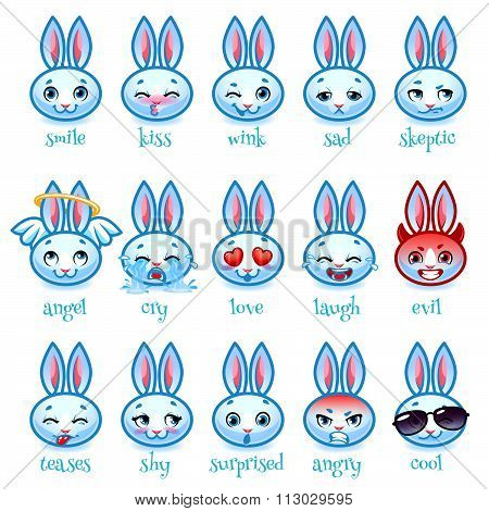 Set Of Emoticons Funny Rabbit.