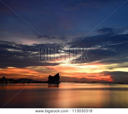 Beautiful sunset silhouette on the beach from Thailand