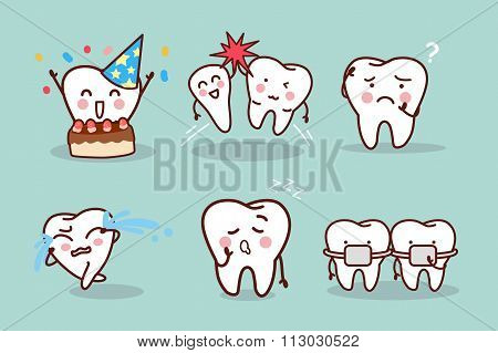 Cartoon Tooth With Expression
