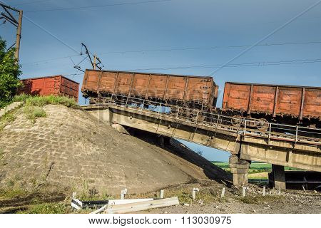 Destroyed Bridge With Wagons