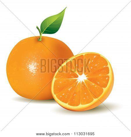Fresh Oranges, Whole And Half Sliced