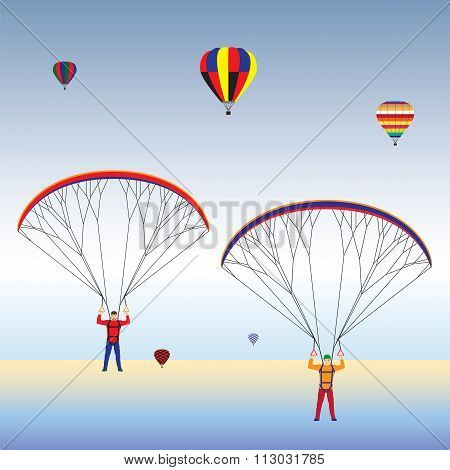 Paragliding And Balloons In The Sky.
