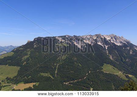 View towards the Zahmer Kaiser mountains, Austria Alps