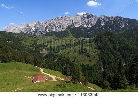View over the Kaisertal valley towards the Wild Kaiser mountains