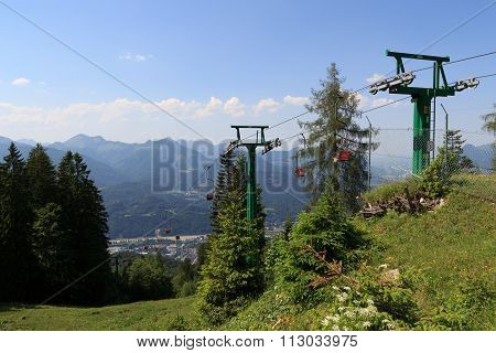 Chairlift with mountains in the background, Austria Alps