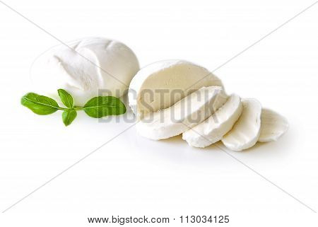 Mozzarella isolated on white background