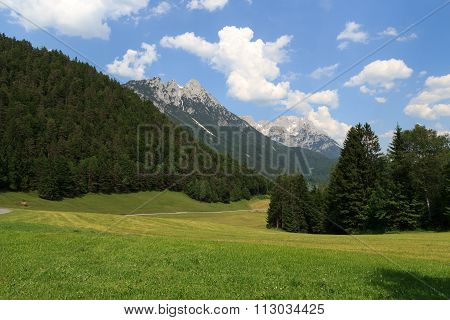 Wild Kaiser mountains and meadows in the foreground