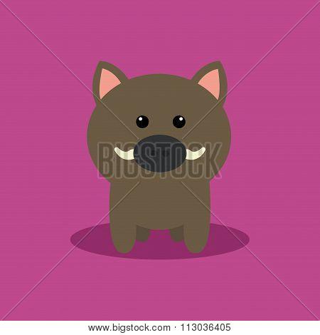 Cute Cartoon Wild Pig