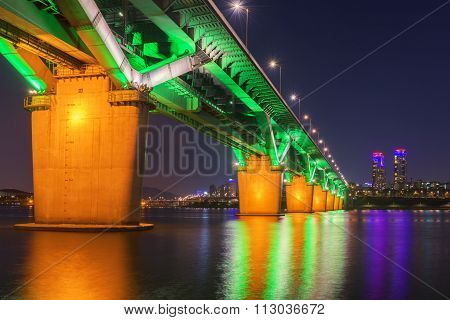 Seoul Subway And Bridge At Hanriver In Seoul, South Korea