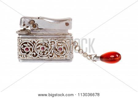 Vintage Sliver Lighter With Red Jewel