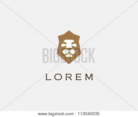 Lion shield vector logo design template. Universal premium elegant creative crown symbol.