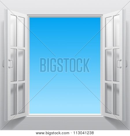Open white double window into sky. Concept design. Vector illustration