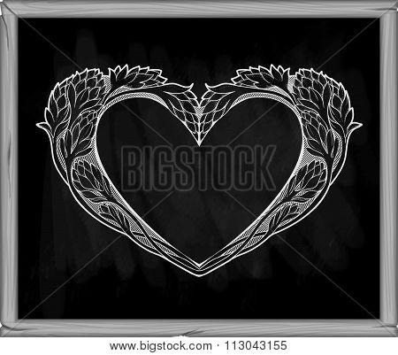 heart in art nouveau style on a blackboard