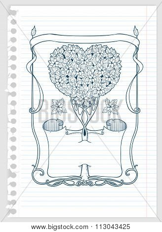 heart-shaped tree with papirus and frame