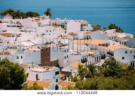 White color houses in Nerja, Malaga Province, Andalusia, Spain