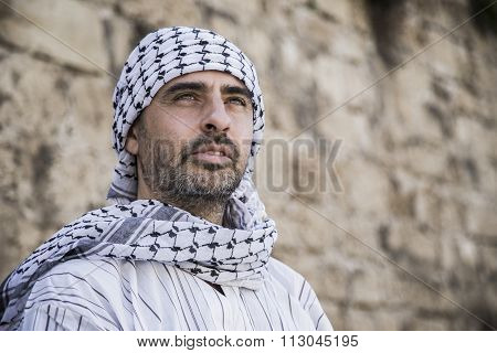 Arab Man Wearing Keffiyeh