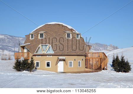 Ulaanbaatar, MN-Dec, 03 2015: Original house for guests in recreation center in Terelj National Park