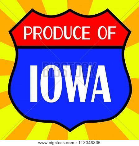 Produce Of Iowa Shield